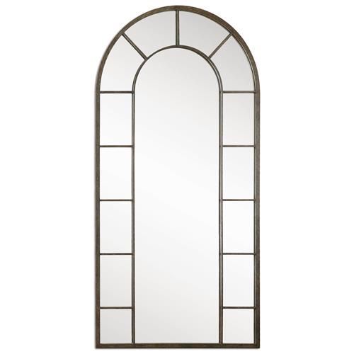 Vinton Industrial Loft Aged Black Iron Arch Wall Mirror