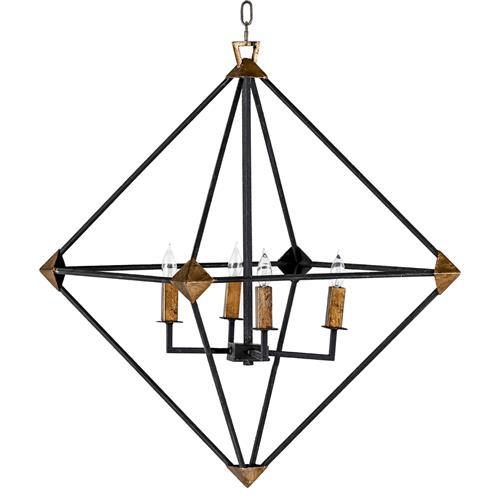 Brisco Industrial Rustic Black Brass Pyramid Chandelier