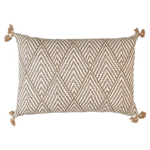 Reni Global Bazaar Beige Stitch Linen Tassel Pillow