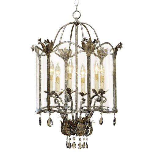 Spanish Revival Antique Gold Silver Lantern Pendant