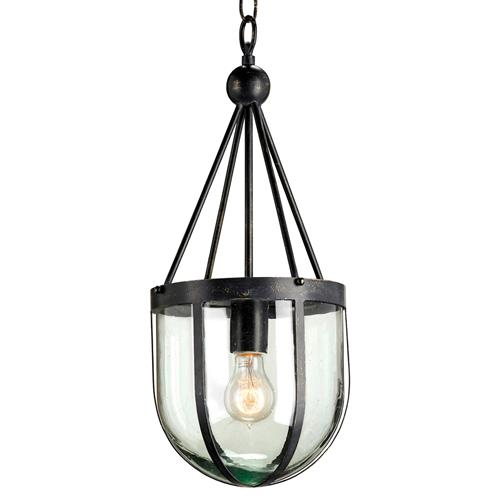 Clarence Distressed Black Industrial Recycled Blown Glass Pendant