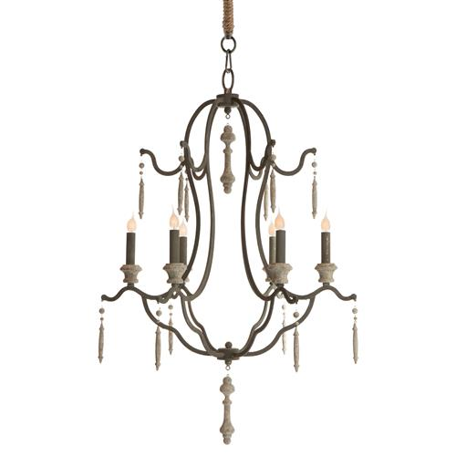 Marisol French Country Simple Dark Grey Iron 6 Light Chandelier