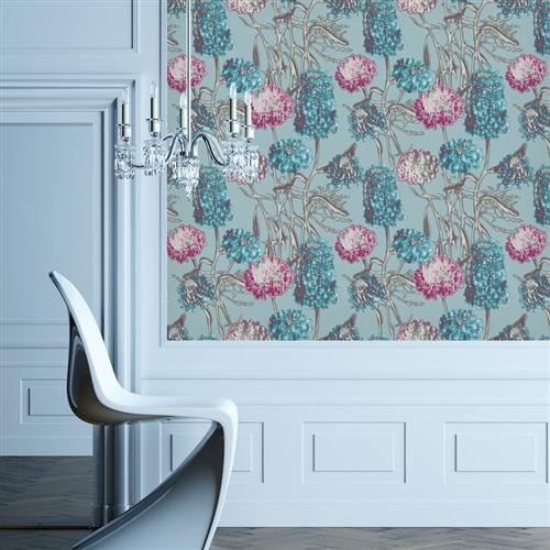 Hydrangea Modern Classic Azure Removable Wallpaper