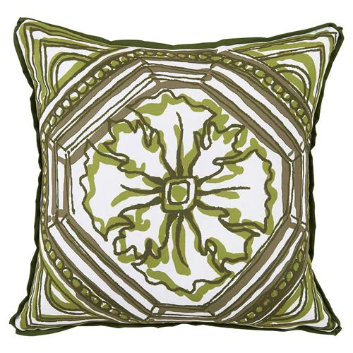 Lydie Coastal Floral Green Sketch Outdoor Pillow