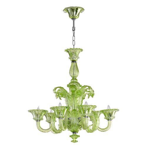 La Scala 30 Inch Pale Green Murano Glass Style 6 Light Chandelier