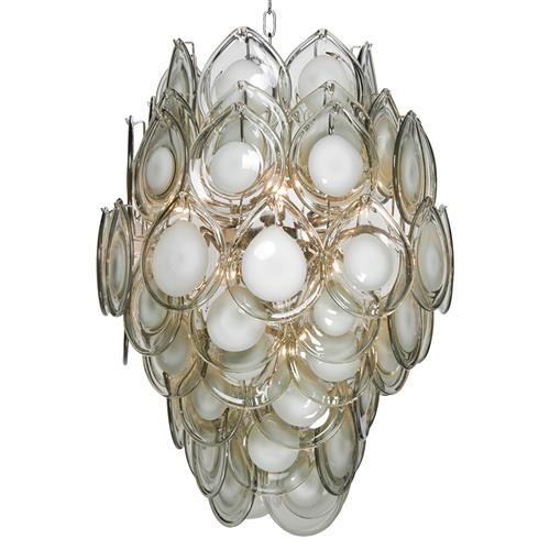 Ventura Coastal Beach Metal Grey Glass Chandelier
