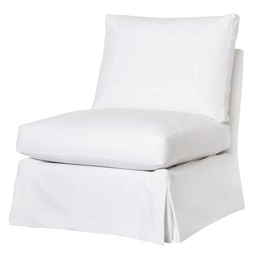 Seda Denim White Cotton Coastal Style Feather Down Slip Cover Swivel Chair