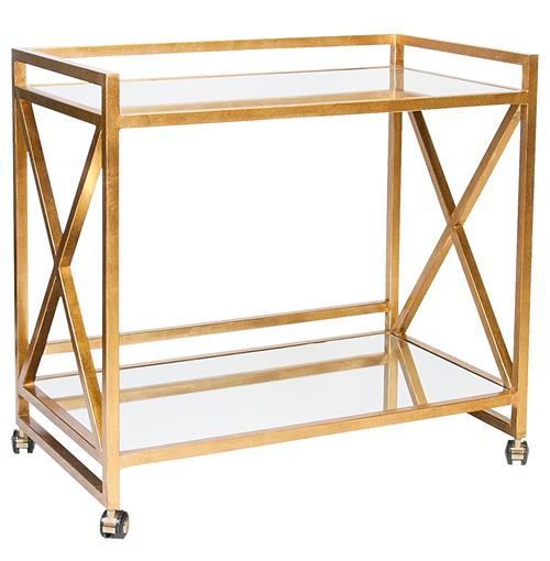 Kerry Hollywood Regency Gold Leaf Mirror Serving Bar Cart