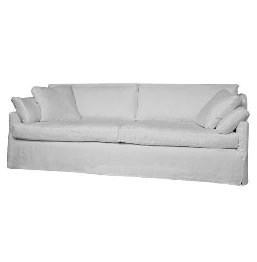 Lanister Feather Down Silver Linen Coastal Beach Slip Cover Sofa