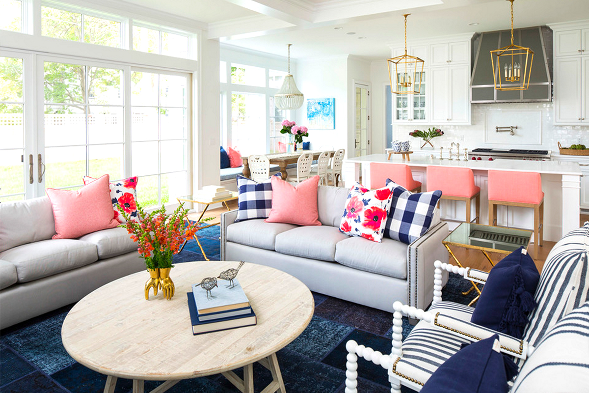 bright blue and pink living room design