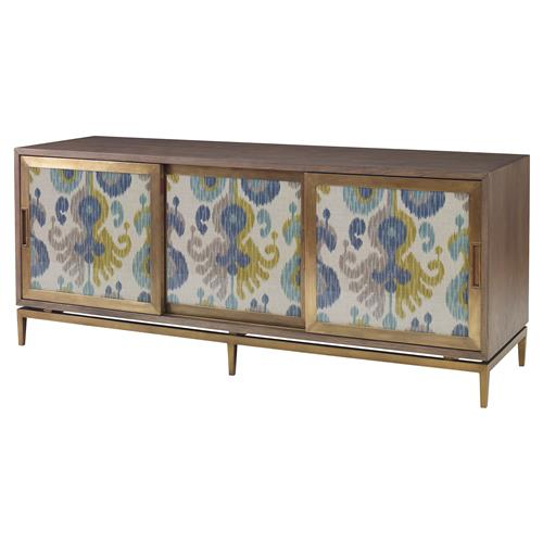 Yen Global Modern Blue Ikat Ash Oak Cabinet