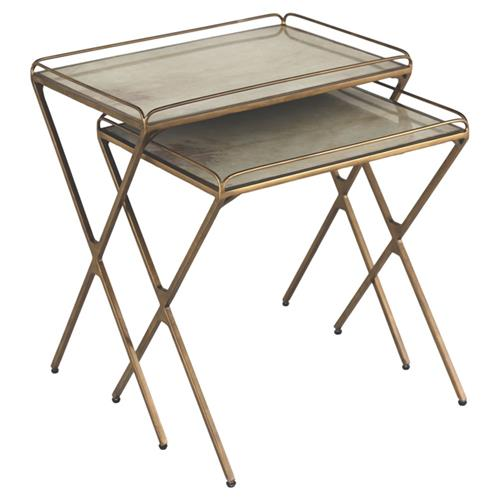 Aven Regency Brass Vellum Nesting Tray Tables