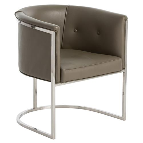 Calvin Modern Dove Grey Leather Nickel Club Chair