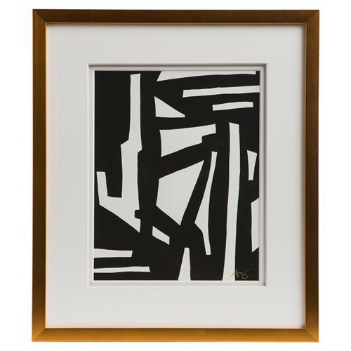 Peyton Modern Classic Black White Gold Frame Wall Art