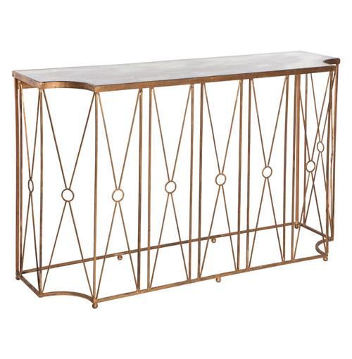 Marlene Hollywood Gold Antique Mirror Console Table