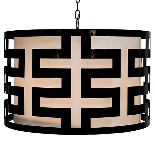 Athena Hollywood Regency Black 3 Light Pendant Chandelier