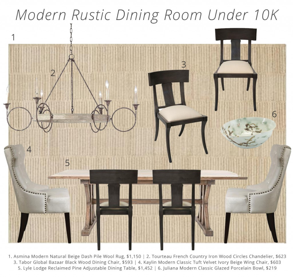 Modern Rustic Dining Room Under 10K