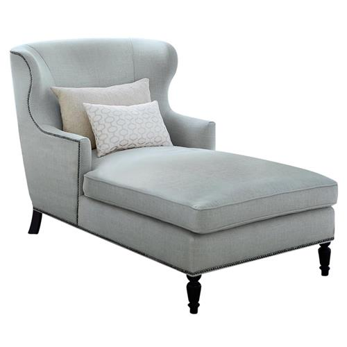 Nia Hollywood Regency Nickel Soft Sheen Blue Grey Velvet Chaise