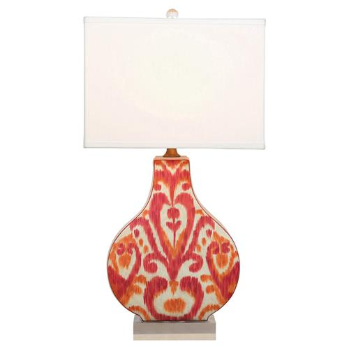 Emily Global Orange Pink Ikat Lucite Base Ceramic Table Lamp