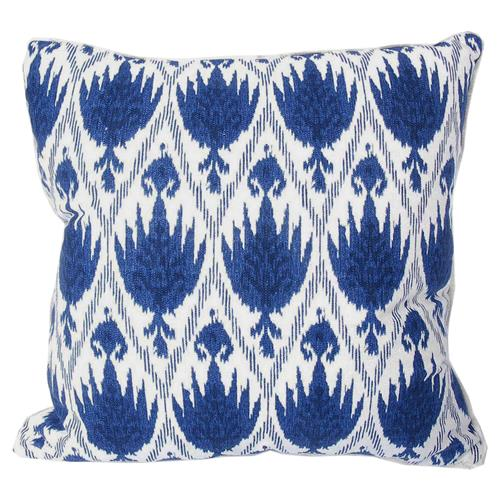 Joli Global Bazaar Blue Ikat Linen Pillow
