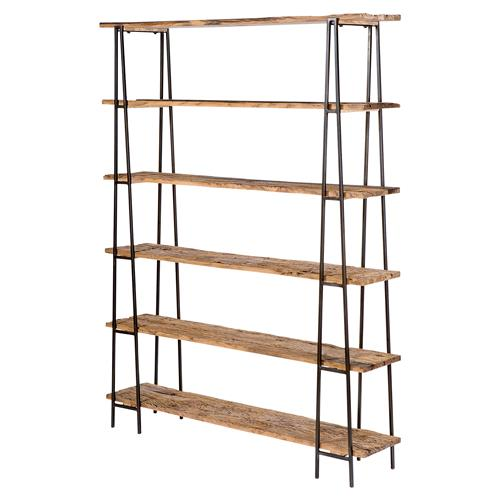 Isai Rustic Lodge Reclaimed Wood Industrial Metal Etagere