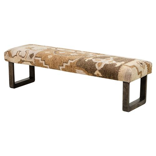 Senura Global Lodge Brown Kilim Patchwork Bench