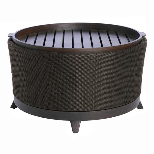Halo Tray Black Walnut Wicker Outdoor Coffee Table