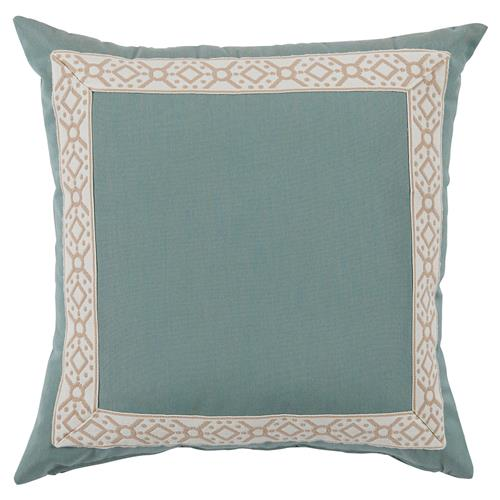 Perri Modern Global Trim Teal Outdoor Pillow