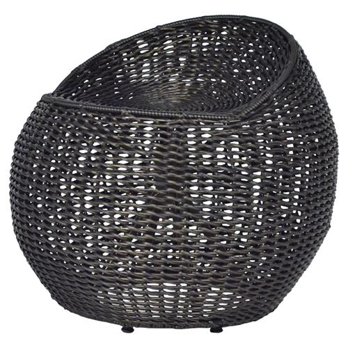 Coastal Beach Black Wicker Outdoor Swivel Stool