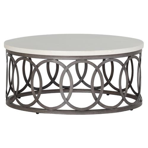 Ella Oval Interlock Ivory Outdoor Coffee Table