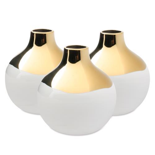 Dauville Mid Glaze Gold White Ceramic Bud Vase