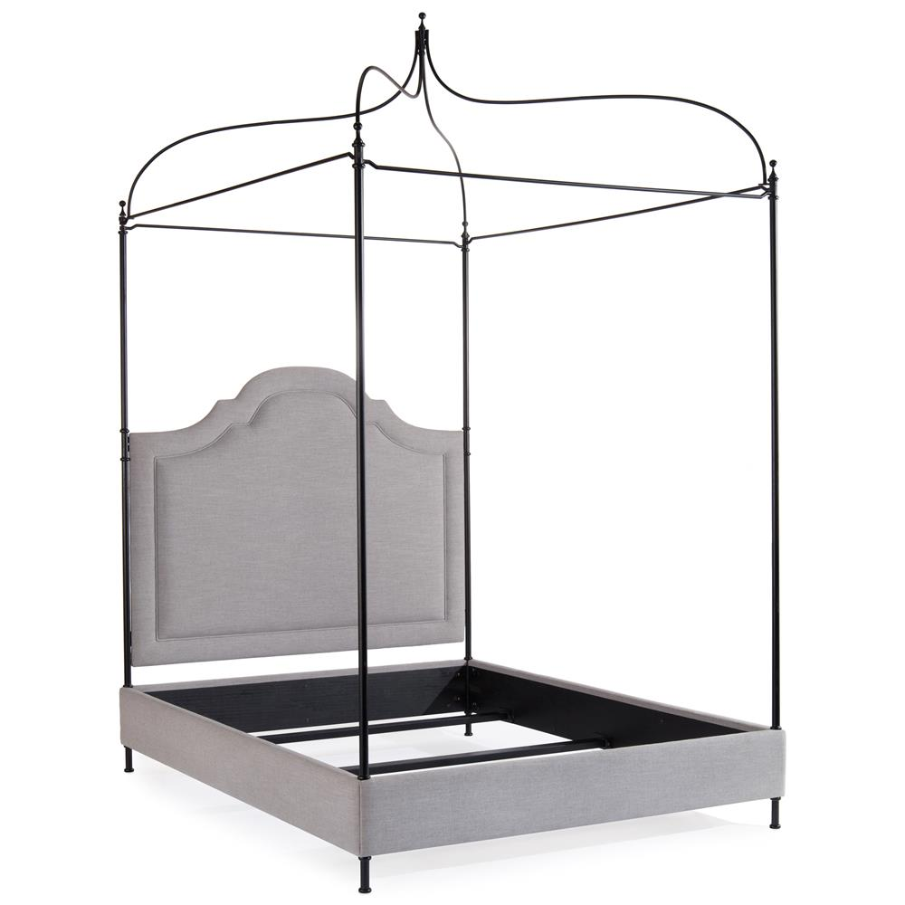 Silvia Modern Clic Antique Iron Grey Linen Upholstered Canopy Bed