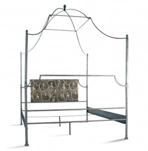 Dalton French Country Rustic Metal Old World Canopy Bed