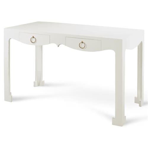 Agra Global Modern White Lacquer Chow Console Desk