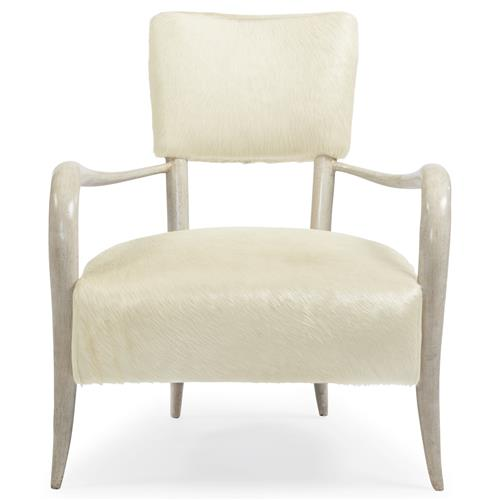 Pietra Hollywood Regency Ivory Horn Leather Arm Chair