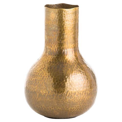 Gilda Global Hammered Brass Vase
