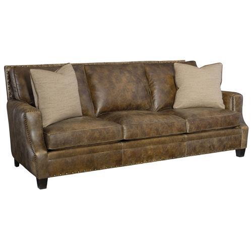 Manzo Rustic Lodge Brown Leather Nailhead Sofa