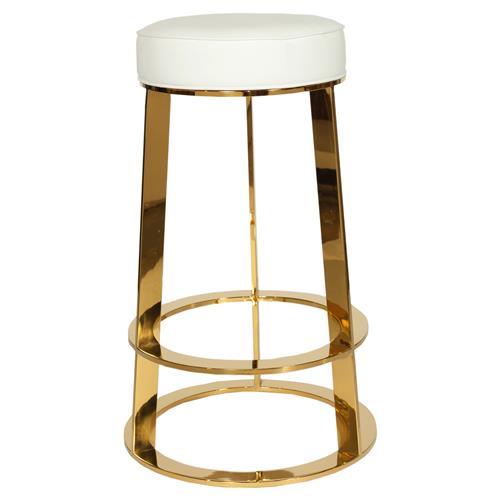 Damaris Modern Brass White Leather Counter Stool