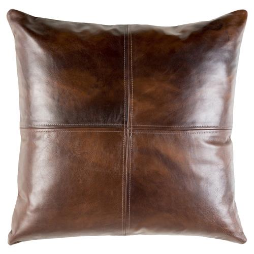 Rydel Rustic Lodge Brown Leather Pillow