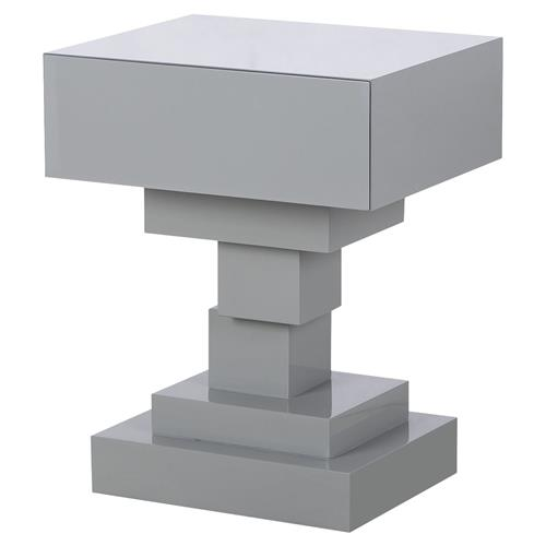 Chelsee Modern Classic High Gloss Lacquered Geometric Side End Table