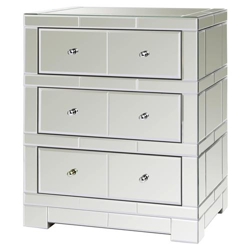 Madge Hollywood Regency Mirrored 3 Drawer Side Table
