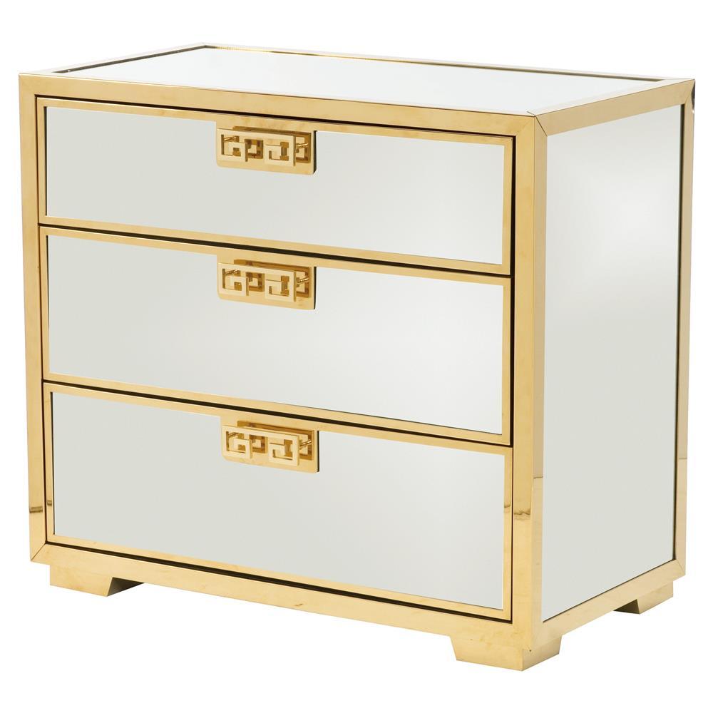 Mercer Mirrored Polished Gold Greek Key Nightstand