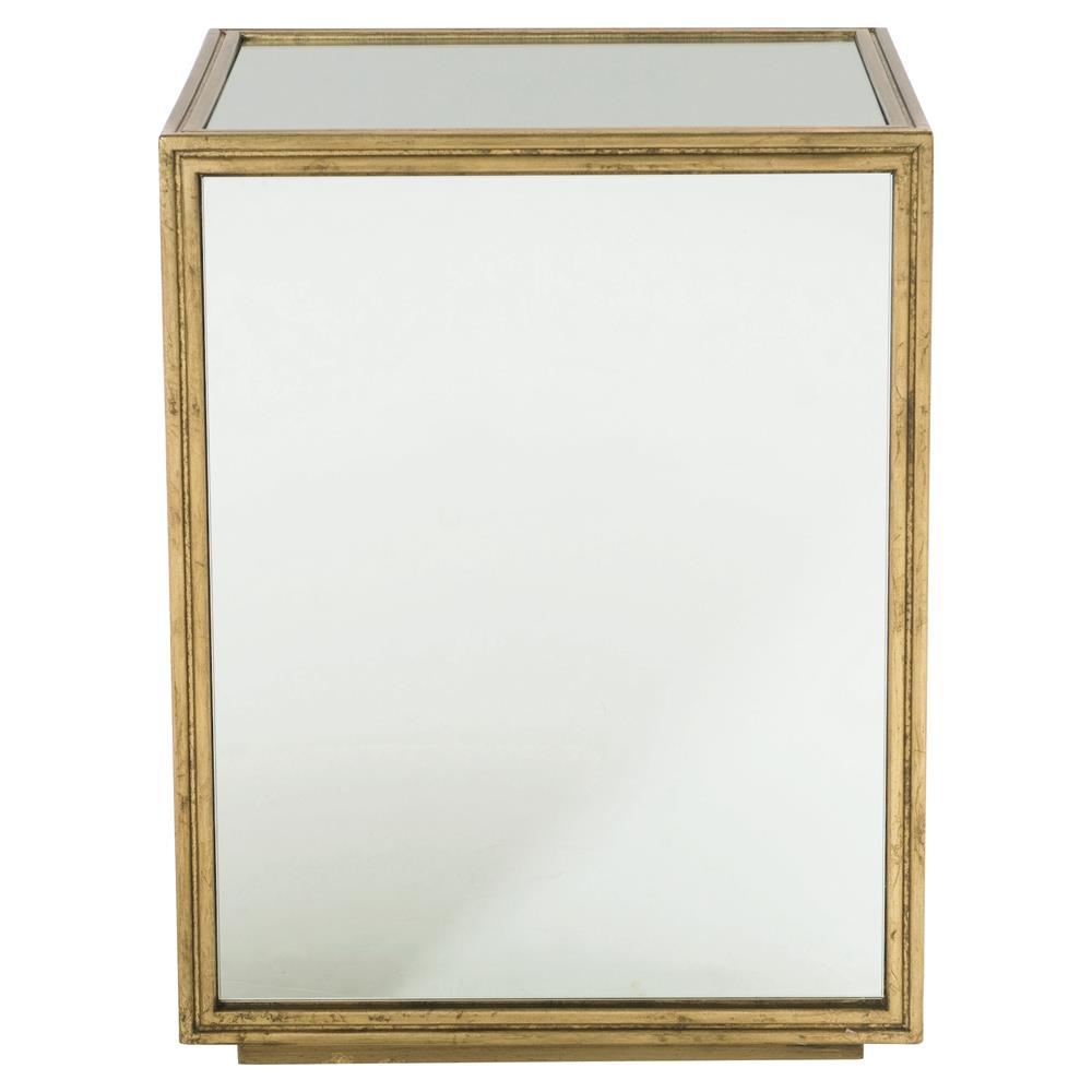 Crawford Mirrored Gold Regency Block End Table