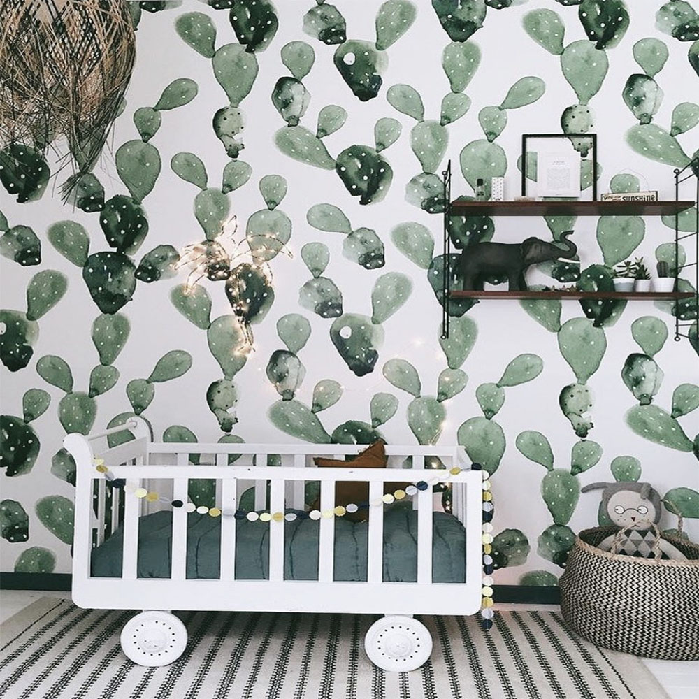 nursery with cactus wallpaper