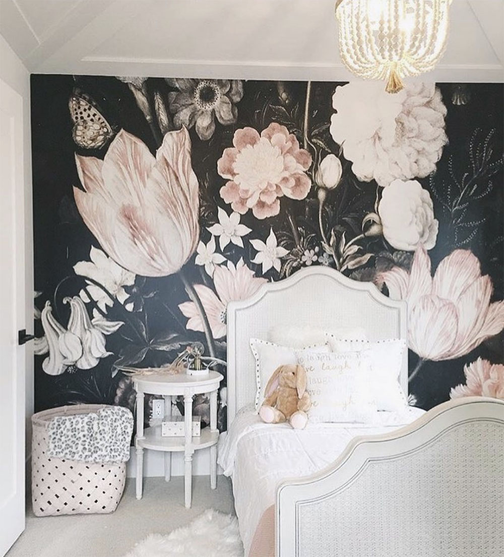 kids room with floral wall paper