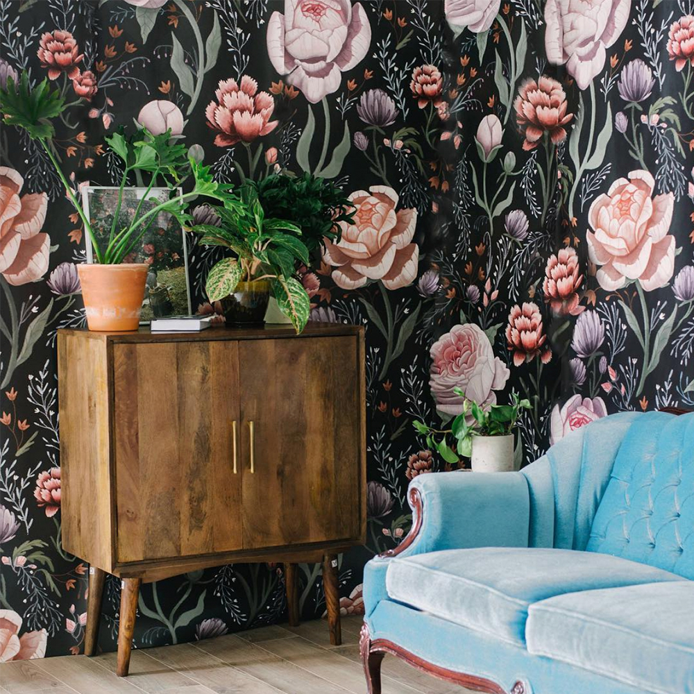 room with floral wallpaper
