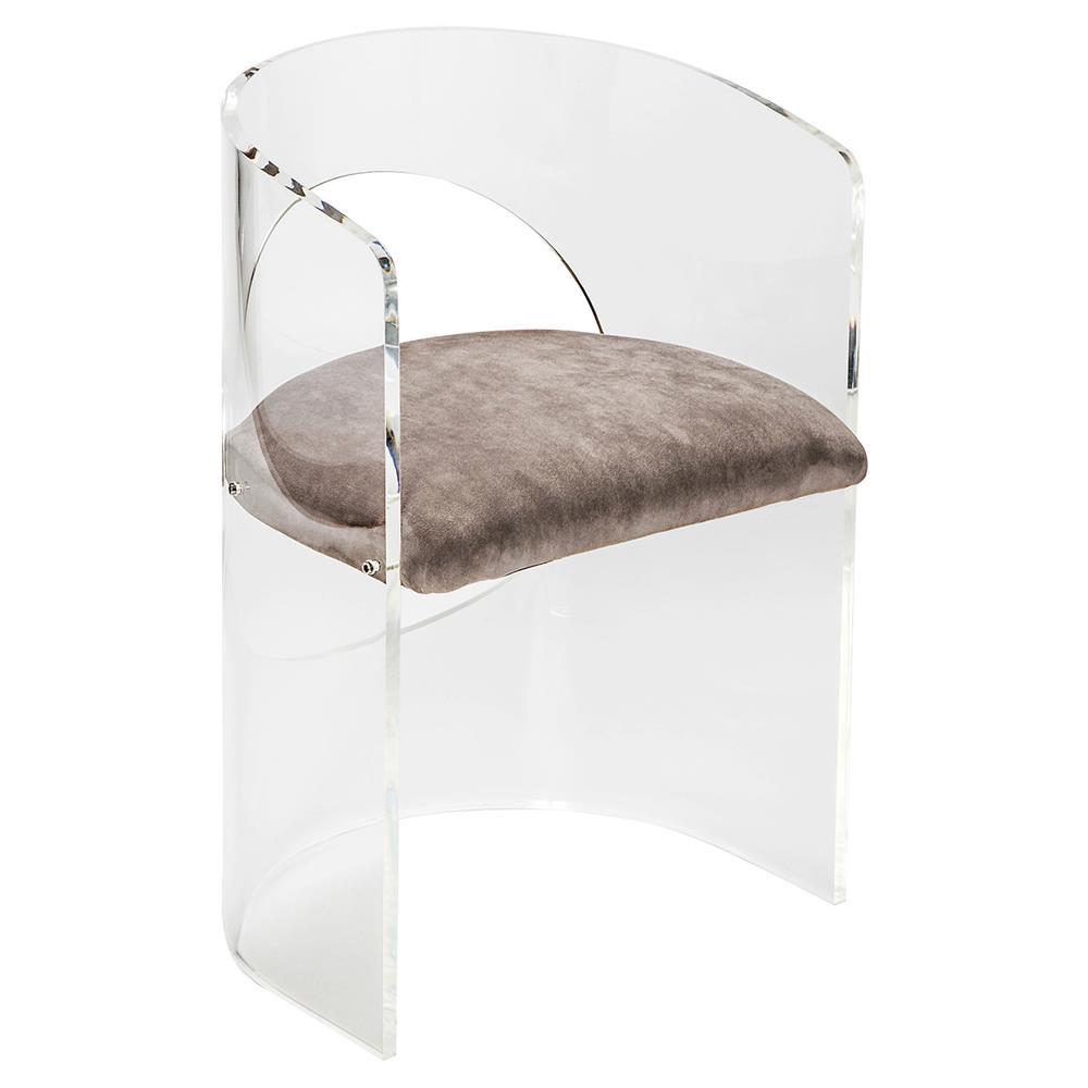 Dyna Modern Classic Grey Velvet Round Acrylic Chair