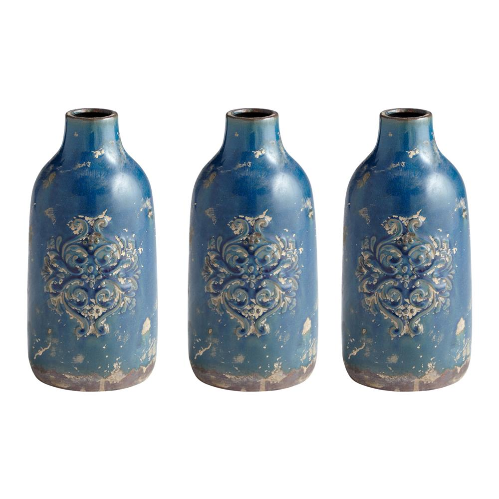 Small Lissie French Rustic Blue Terra Cotta Vase Trio - Set of 3