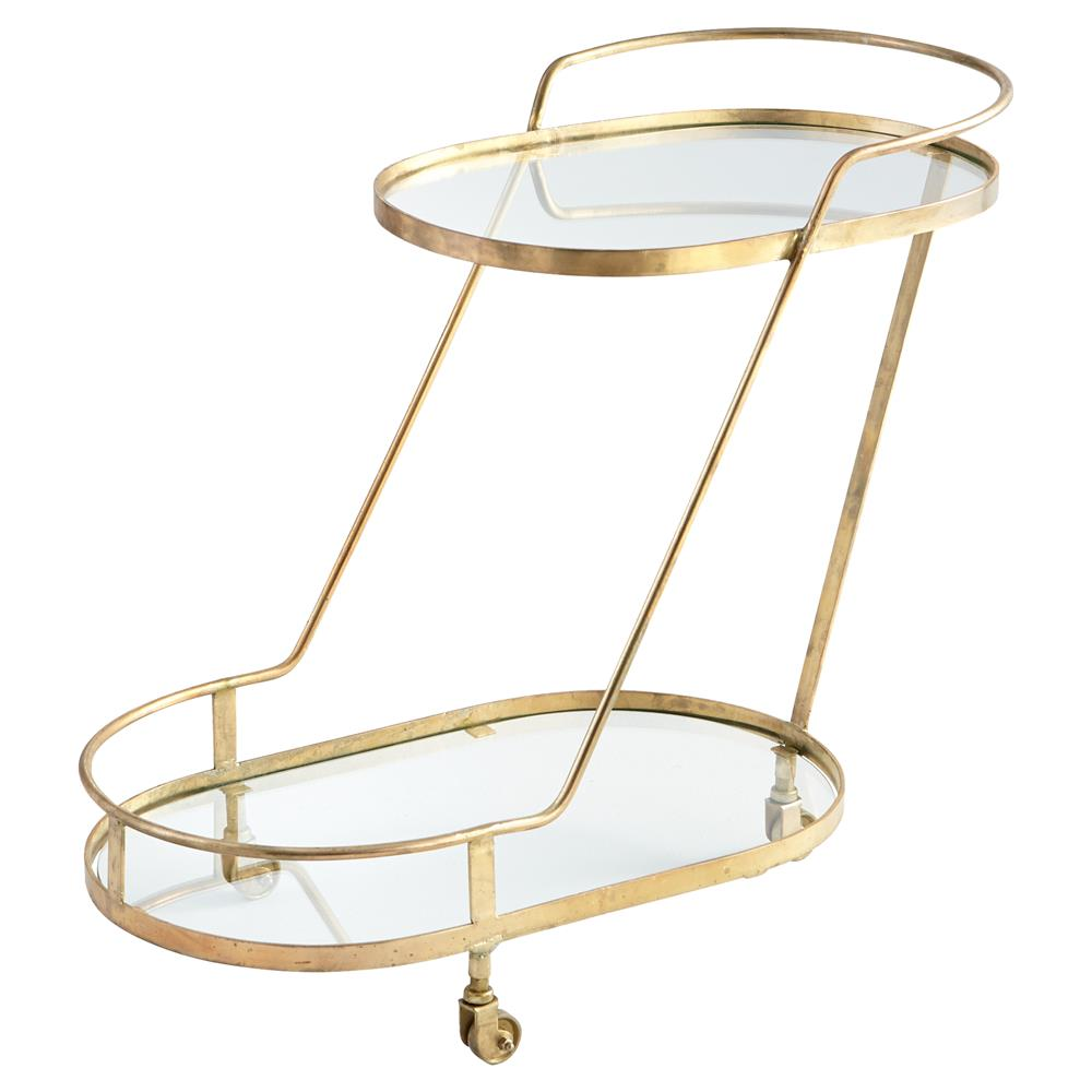 Olga Modern Regency Angular Brass Bar Cart