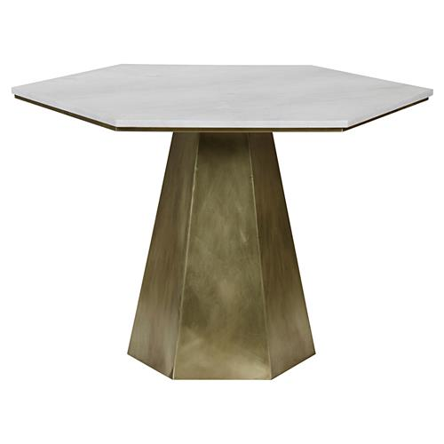 Harding Modern White Quartz Antique Brass Hexagon Pedestal table